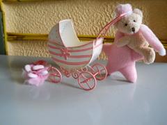Passeggino in latta rosa cm,16 x 5 H 12 per fioristi e wedding