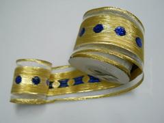 Nastro Oro H 55 x 10 mt. Oro e Pois Blu