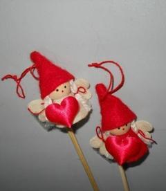 Angioletti x 12 feltro con cuore Articolo per San Valentino - Sconti per Fioristi e Aziende