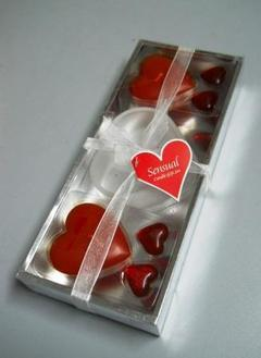 Candela cuore x 2 con vetro