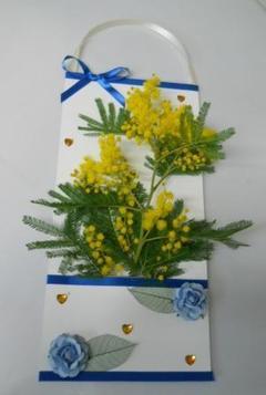 Busta mimosa H 37,5 x 16.5 con tasca  decoro raso