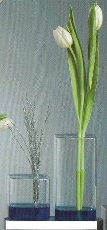 Vaso in vetro cubico  monofiore in 2 misure