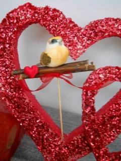 Uccellini con cuore H 16  Busta 6 pezzi