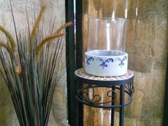 Vaso ceramica  decorata Con vetro