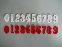 Numeri in feltro H 3 cm.  Conf. da 10 Numeri