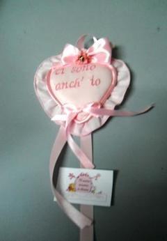Fiocco Culla Rosa in Conf. da 6 rosoncini per fioristi e baby shop