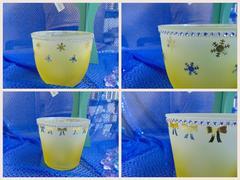 Porta vaso in vetro satinato giallo in due modelli - Sconti per Fioristi e Aziende