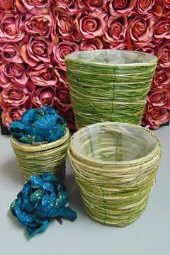 Cesti Sea Grass x 3 verde  verde glitterato  in 3 modelli