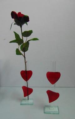 Monofiore  H 21  con cuori rossi