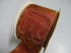 Nastro broccato rosso H 6o x 10 mt animato con decoro rilievo