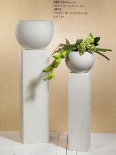 Coppia colonne con vaso H 80 e H 100 fiberglass bianco