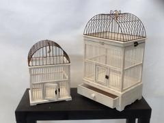 Coppia voliera in legno con tetto in metallo  in due colori