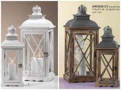 Set 2 lanterne in legno con tetto in metallo  in due colori