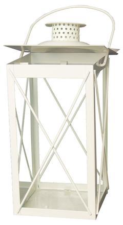 lanterne in metallo color bianco H 25,5  conf. 6 pezzi