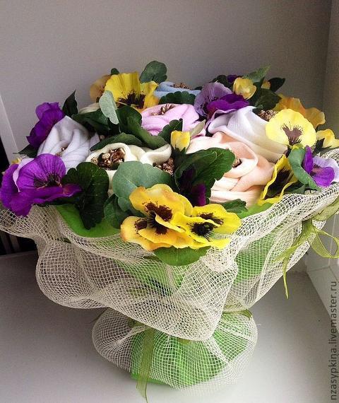 Viole del pensiero x 7 Artificiale in poliestere per fioristi e wedding