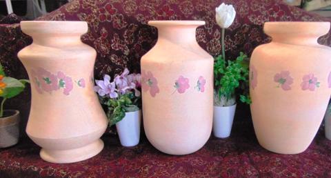 Vaso Ceramica  H 30 Rosa Decorato