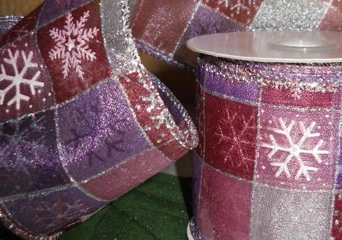 Nastro Organza H 40 x 10 mt. a quadri  glitterati