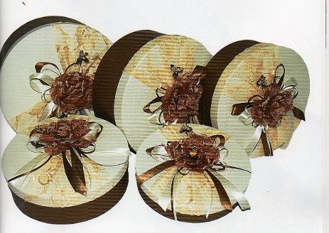 Scatole Cappelliere x 5 tonde  Decorate  - Sconti per Fioristi e Aziende