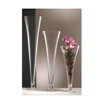 Vaso Tromba  H 100 dm. 25 in vetro trasparente