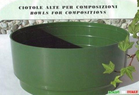 Ciotola Tamburella dm. 22 H 10 in plastica Verde - Sconti per Fioristi e Aziende