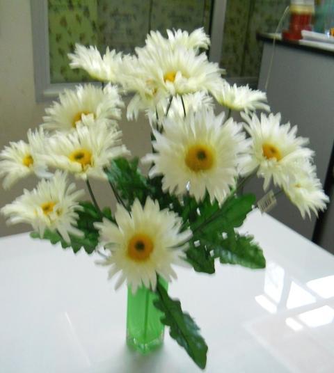 Gerbera Artificiale Bush x 8 in poliester per fioristi e wedding
