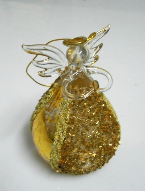 Angelo in vetro  H 11  con lustrini oro - Sconti per Fioristi e Aziende