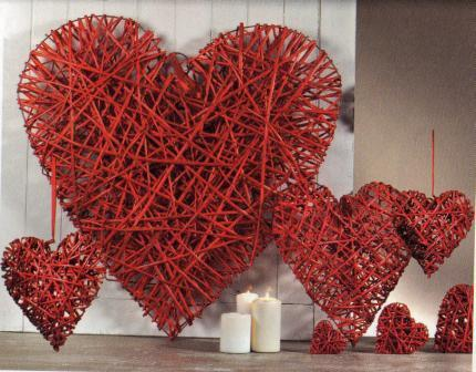 Cuore Vimini Rosso intrecciato Large Articolo per San Valentino - Sconti per Fioristi e Aziende