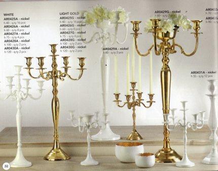 Candelabro H 100  cinque luci Bianco - Oro - Silver