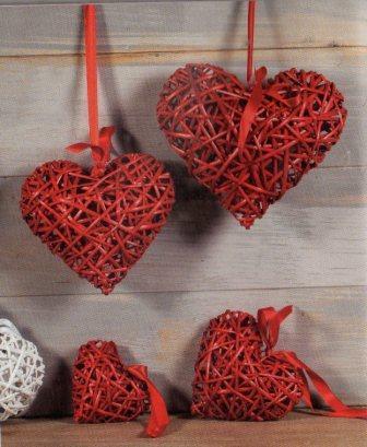 Cuore Vimini Bianco e Rosso intrecciato tondo Articolo per San Valentino - Sconti per Fioristi e Aziende
