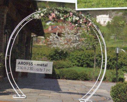 Arco sposi circolare Semplice H 230 x 230 in ferro bianco - Sconti per Fioristi e Aziende