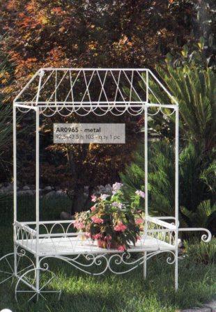 Carrello da giardino H 180 L108 x 56 in ferro bianco