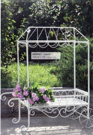 Carrello da giardino in ferro bianco H 103 L 93x44 - Sconti per Fioristi e Aziende