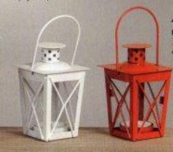 lanterna piccola con manico H 12 L 7,5 x 7,5 Bianco e Rosso - Sconti per Fioristi e Aziende