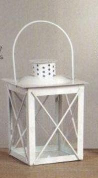 Lanterna in metallo bianco H 17 L 12 x 12 con manico
