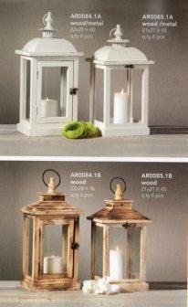 Lanterna singola retta e quadra H 46 e H 45 in legno e tetto in metallo