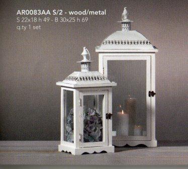 Lanterne x 2 H 64 e 49 in legno e metallo in 2 colori