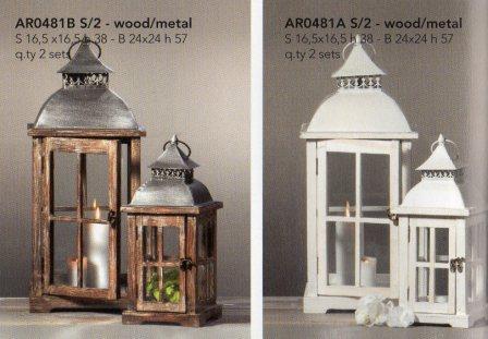 Lanterne x 2 H 57 e 38 in legno e metallo - Sconti per Fioristi e Aziende
