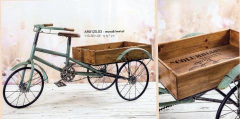 Triciclo con carrello legno Lungo cm. 110x50 H 60 in legno e metallo