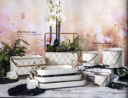 Cesti, Fiorere e vassoi  in metallo bianco  - Sconti per Fioristi e Aziende