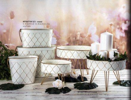 Secchielli Ovali e Alzate piedistallo in metallo bianco - Sconti per Fioristi e Aziende