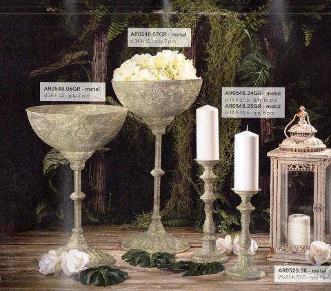 Alzata a coppa, Candelabri e Lanterna in metallo per matrimonio