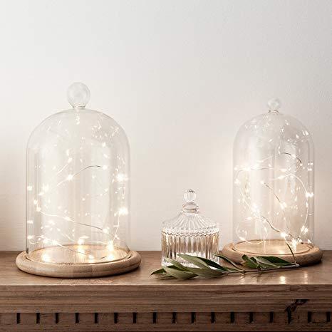 Campane in vetro H 50 c/s base legno