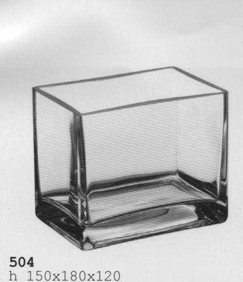 Vaso  Rettangolare in Vetro cm.18 x 12 H 15 vaschetta