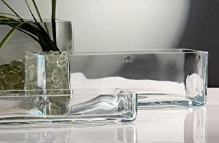 Vaso Rettangolare in Vetro cm. 36 x 10 H 15 vaschetta