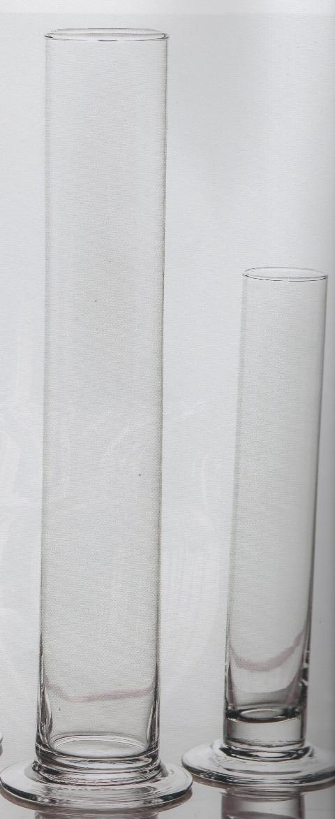 Vaso Retto Monofiore in vetro H 20 dm.3,5 - Sconti per Fioristi e Aziende