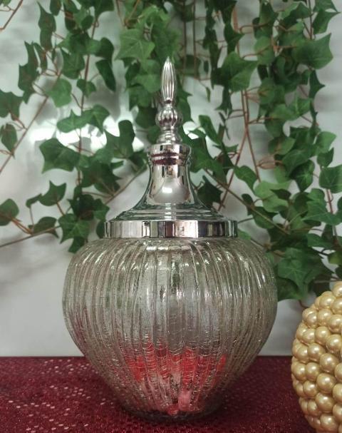 Confettiera in vetro H 31 dm.19 con cupola argento per fioristi e wedding