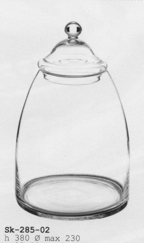 Confettiera in vetro con coperchio H 38 - dm. 23 per fioristi e wedding