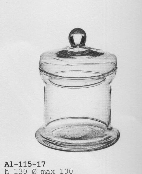 Zuccheriera in vetro dm.10 H 13 con coperchio