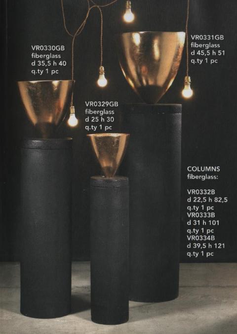 Vaso 0giva Nero/Oro in fiberglass per fioristi e wedding