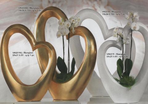 Vaso Cuore Maxi Oro H 81 - H100 per fioristi e wedding
